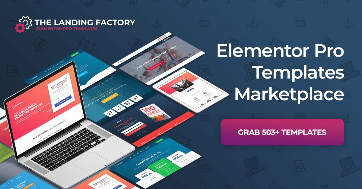 Elementor Templates Marketplace The Landing Factory